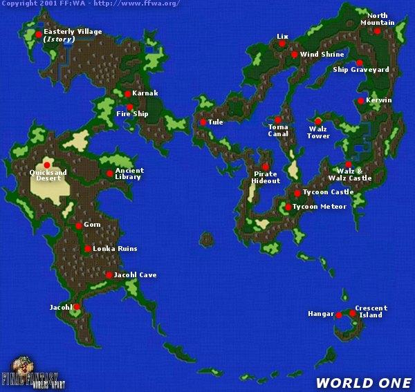 Final Fantasy V | 5 | FFV | FF5   World Maps   FFWA