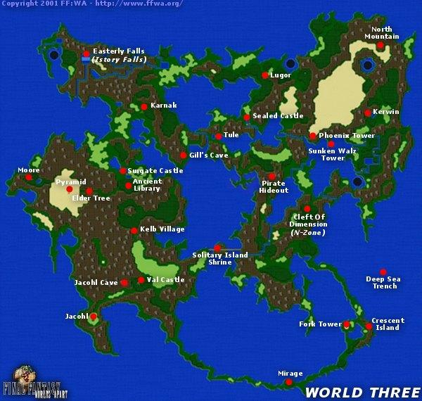 FFWA   Final Fantasy V | 5 | FF5 | World Three Map