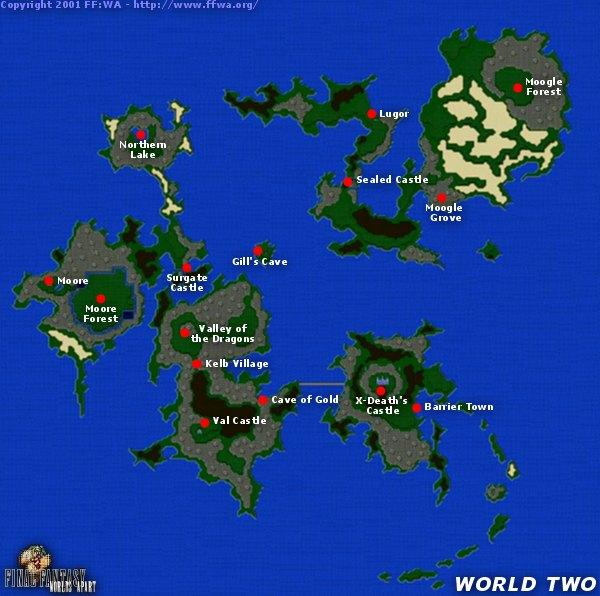 FFWA   Final Fantasy V | 5 | FF5 | World Two Map